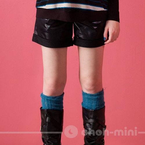 【ohoh-mini孕婦裝】搖滾熱情皮革反折孕婦短褲