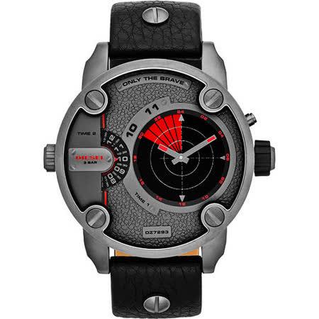DIESEL Little Daddy 雙時區雷達指示轉動腕錶-灰/黑 DZ7293