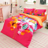 生活提案【飛翔】雙人加大四件式活性印染純棉被套床包組