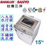 SANYO三洋 15公斤(強化玻璃上蓋)超音波單槽洗衣機 SW-15UF3 送安裝