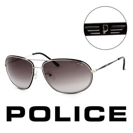 Police 義大利 警察 復古時尚銀框造型太陽眼鏡(銀) POS86370K07
