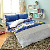 生活提案【時尚英倫】雙人加大四件式活性印染純棉兩用被床包組