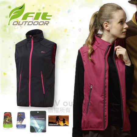 【FIT】女新款 Softshell抗風保暖背心/防水.保暖.防風.質輕/多口袋設計 /收納簡單/經典黑 EW2401