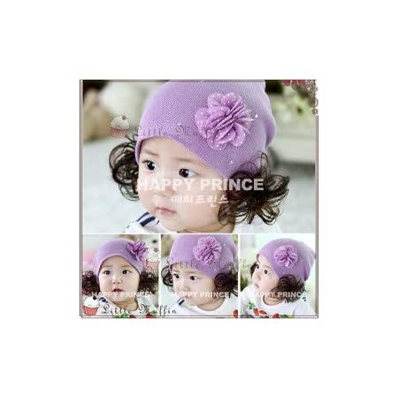 【Little Muffin小馬芬】[SUM092]紫色點點山茶花水鑽裝飾針織毛線帽/假髮帽