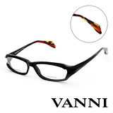 Vanni  時尚花紋鏡腳造型平光眼鏡(黑) V2502A201