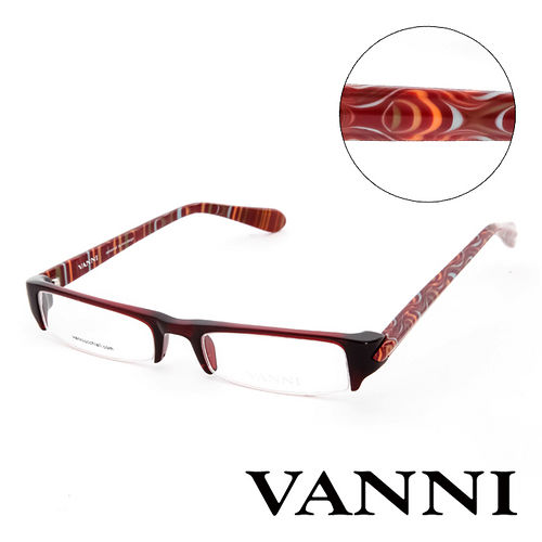 Vanni 復古 花紋 平光眼鏡^(深紅^) V5312A378