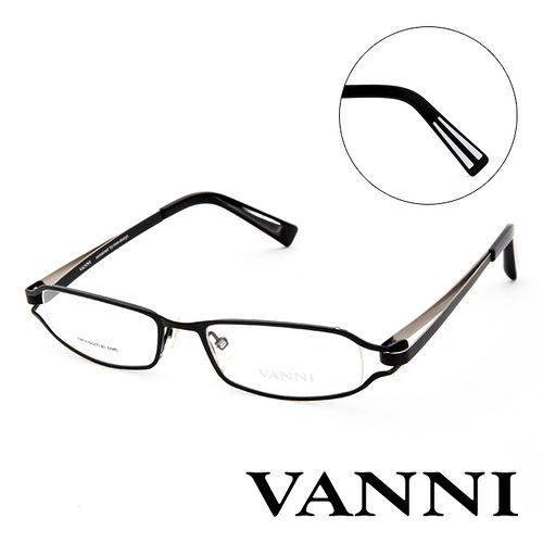 Vanni 復古輕巧 平光眼鏡^(黑^) V8300C151