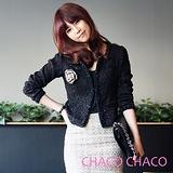 預購【CHACO韓國】高貴優雅小香款毛呢料合身短版外套CLDA-J-2*黑色M/L