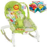 【費雪牌 Fisher-Price】可攜式兩用安撫躺椅+可愛學習聲音小車(隨機出貨1台)
