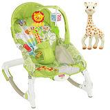 【費雪牌 Fisher-Price】可攜式兩用安撫躺椅+蘇菲長頸鹿固齒器
