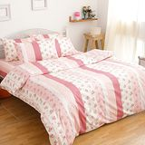eyah【幸福花園】100%純棉雙人加大床包枕套三件組
