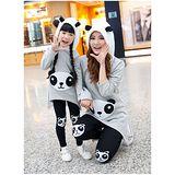 親子母女兩件套裝(上衣+褲子).可愛熊貓休閒親子套裝4件組