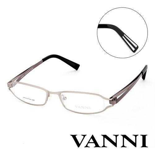 Vanni 復古輕巧 平光眼鏡^(銀 鐵灰^) V8300C170