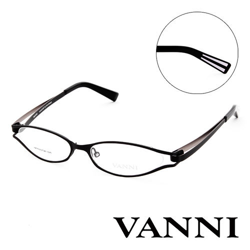 Vanni 復古輕巧 平光眼鏡^(黑^) V8305C151