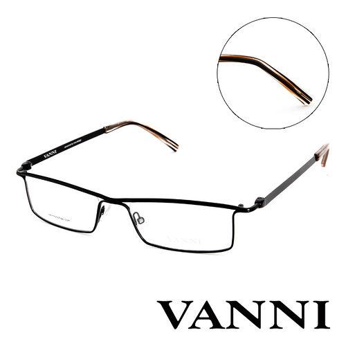Vanni 復古 款 平光眼鏡^(黑^) V9541C11