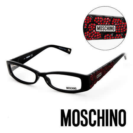 MOSCHINO 義大利設計時尚晶鑽造型平光眼鏡(黑) MO01801