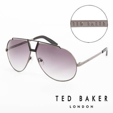 TED BAKER 倫敦 復古時尚皮革鏡腳造型太陽眼鏡(鐵灰) TB1238921