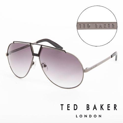 TED BAKER 倫敦 復古 皮革鏡腳 太陽眼鏡^(鐵灰^) TB1238921