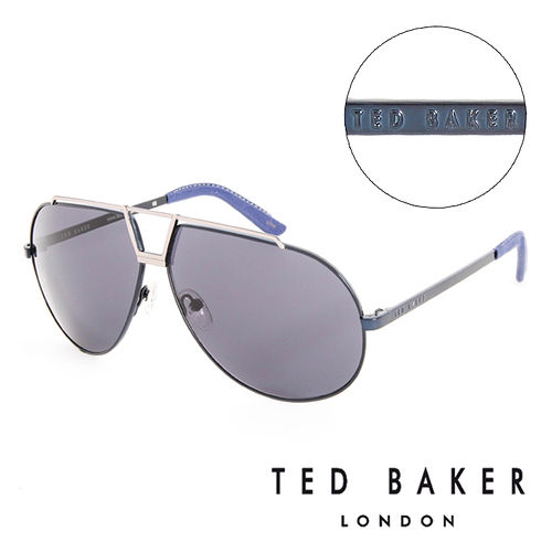 TED BAKER 倫敦 復古 皮革鏡腳 太陽眼鏡^(藍^) TB1238689