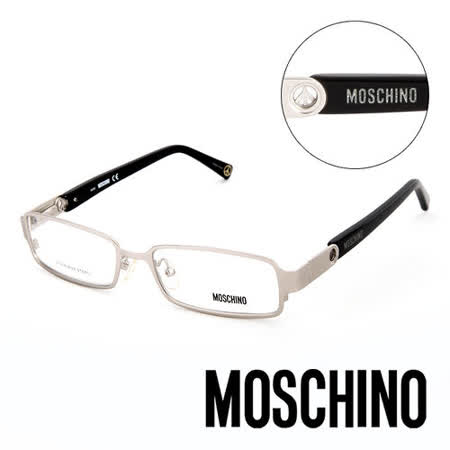 MOSCHINO 義大利設計經典金屬造型平光眼鏡(黑) MO04601