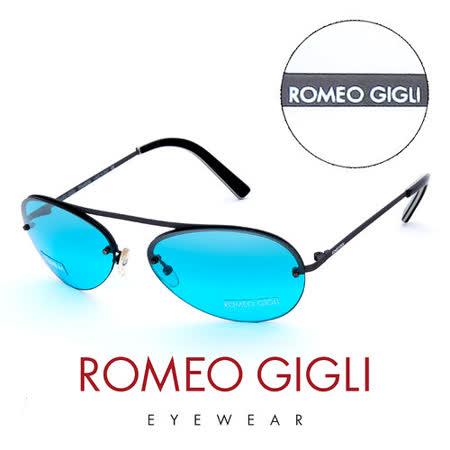 Romeo Gigli 義大利 復古質感半框造型太陽眼鏡(藍)  RG208S2X1