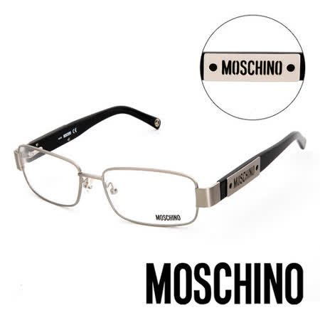 MOSCHINO 義大利設計經典復古造型金屬平光眼鏡(黑) MO04801