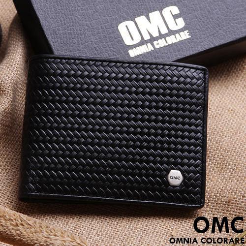 OMC ~ 韓國六角編織系真皮款8卡1照上下翻短夾