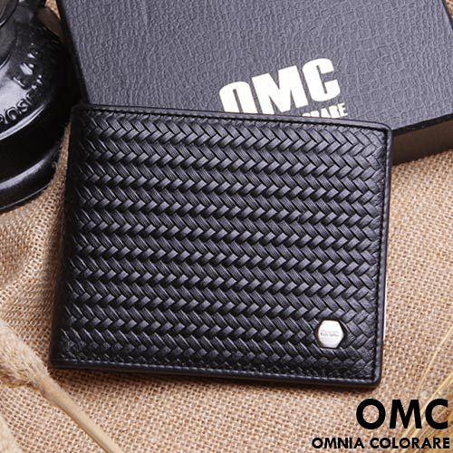 OMC ~ 韓國六角編織系真皮款6卡左右翻短夾