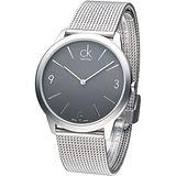 cK 時尚系米蘭風大表徑男錶-鐵灰K3M51154