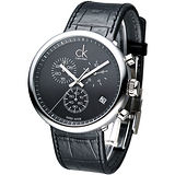cK 潮男魅力三眼計時腕錶-黑K2N281C1