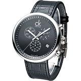 cK 潮男魅力大表徑三眼計時腕錶-黑 K2N271C1