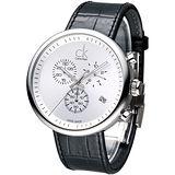 cK 潮男魅力大表徑三眼計時腕錶-白K2N271C6