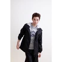 OutPerform-日系刷毛雨衣單衣夾克-質感黑