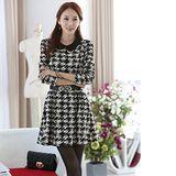 Kate❤Classic 韓版氣質黑白刷紋收腰長袖洋裝(DS00054)