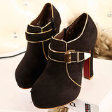 《JOYCE》秋冬復古個性皮帶釦飾造型高跟短靴