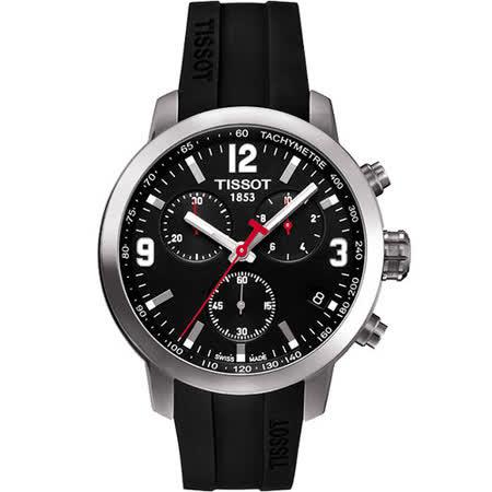 TISSOT PRC 200 競速三眼計時腕錶-黑X橡膠 T0554171705700