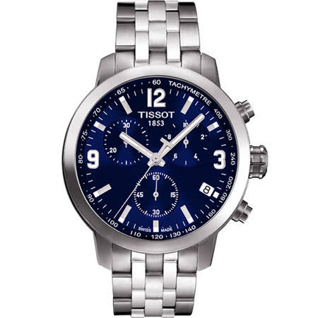 TISSOT PRC 200 競速三眼計時腕錶-藍/銀 T0554171104700