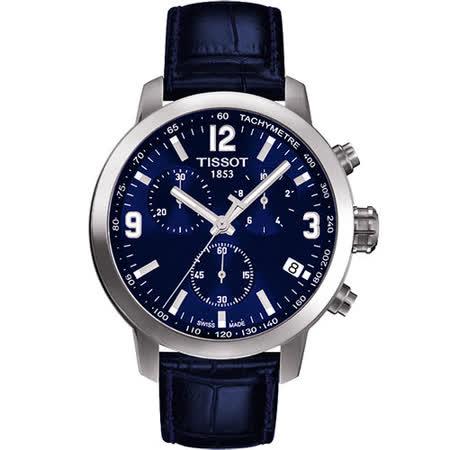 TISSOT PRC 200 競速三眼計時腕錶-藍 T0554171604700