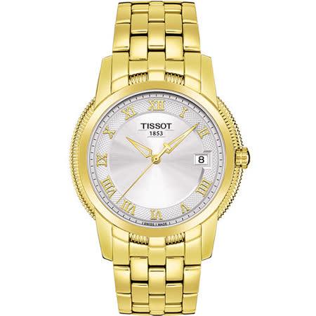 TISSOT 寶環系列羅馬復古石英腕錶-銀/金 T0314103303300