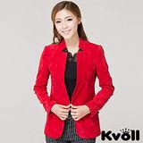 【KVOLL中大尺碼】紅色簡約修身磨絨西裝外套