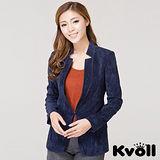 【KVOLL中大尺碼】藍色簡約修身磨絨西裝外套