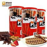 【黑師傅捲心酥】巧克力/花生/草莓口味各1罐共3罐(200g+-3%/罐)