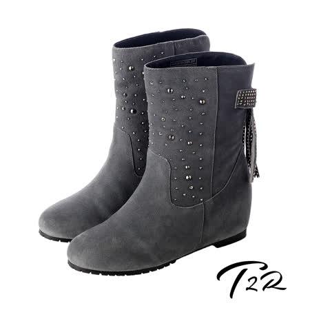 【韓國T2R】真皮手感鞋面點綴亮飾隱形內增高靴 灰 ↑7cm 5600-0085