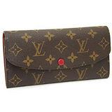 Louis Vuitton LV M60136 EMILIE 經典花紋扣式拉鍊零錢長夾.紅_現貨