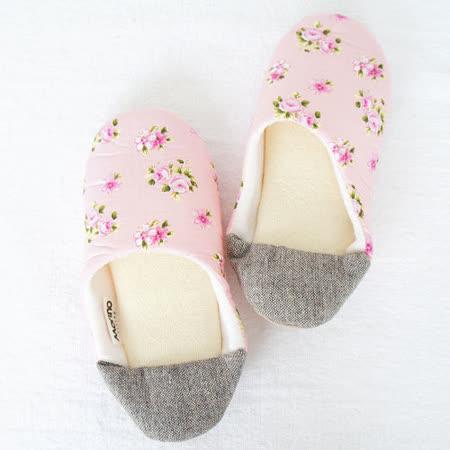 【MORINO】日式踩腳室內拼布拖鞋-粉紅色