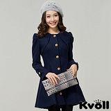 【KVOLL中大尺碼】深藍色氣質顯瘦毛呢大衣外套