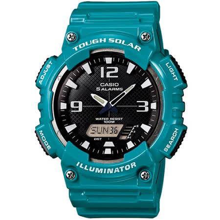 CASIO 型男個性太陽能雙顯錶(黑面/藍綠錶帶)AQ-S810WC-3A