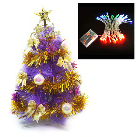 台灣製2呎(60cm)特級紫色松針葉聖誕樹(金色系配件)+50燈LED電池燈(四彩光)(本島免運費)
