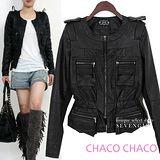 預購【CHACO韓國】軍裝感口袋流蘇造型束腰皮衣外套*黑色M/L