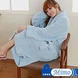米夢家居 水乾乾SUMEASY開纖吸水紗-柔膚浴袍(淺藍)台灣製造